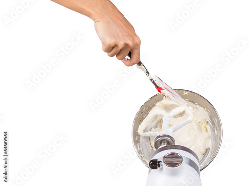 Female Hand Mixing Cake Ingredients