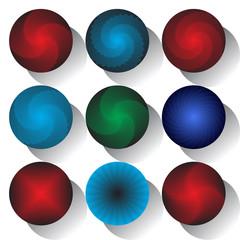 Circle design elements with  3D effect shape. No gradient.