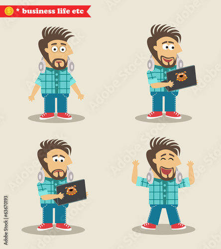 Seasoned IT guy emotions in poses, standing set