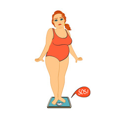 Woman on weight scales unhappy