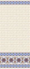 Seamless beige pattern with wide border of fantasy flowers