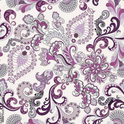 ornate pattern in lilac and gray tones
