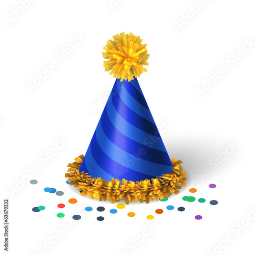 Blue birthday hat with spirals