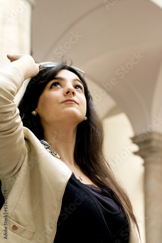 success concept with young woman with long black hair