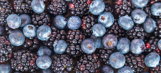 Fresh sweet blueberries and blackberries