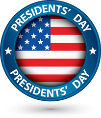 Presidents day blue label with USA flag, vector illustration