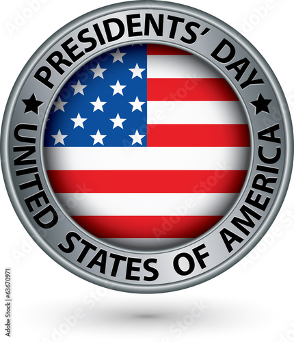 Presidents day silver label with USA flag, vector illustration