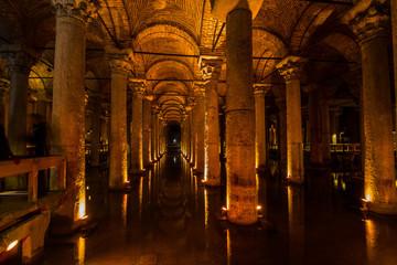Underground Cistern with water, Istanbul, Turkey