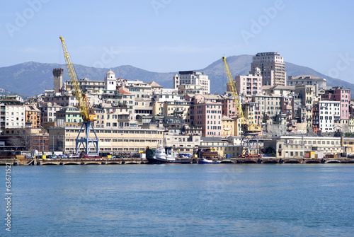 A panoramic view of Genoa from the sea