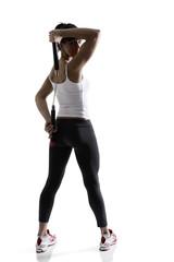 sport karate girl doing exercise with nunchaku, fitness silhouet