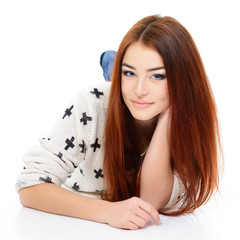 young beautiful woman portrait with long red hair over white
