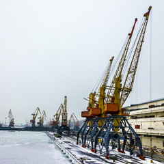 Sea front with port cranes, Odessa, Ukraine