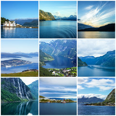 Collage Norway natural summer seascapes.