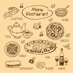 Restaurant menu. Vector illustration.