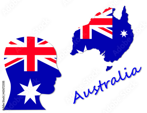 Australian symbols, map and population