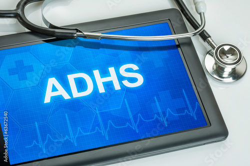 Tablet mit der Diagnose ADHS auf dem Display