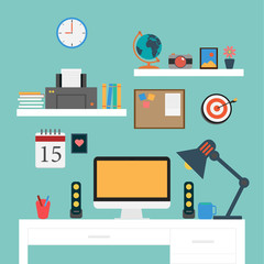 Vector Flat Office workstation