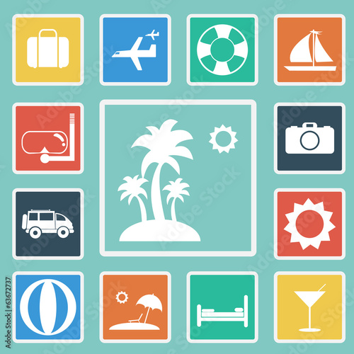 Vector of travel set icon