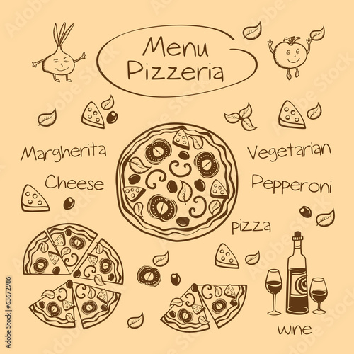 Menu pizzeria. Vector illustration.