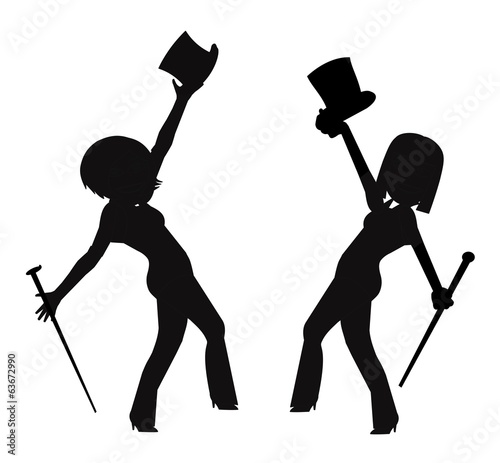 dancers with top hats and cane