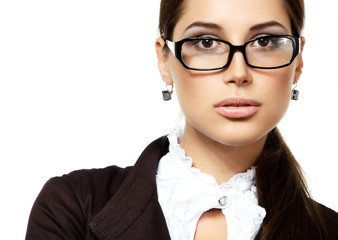 portrait of attractive business woman with glasses, isolated on