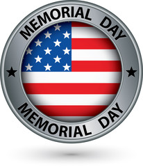Memorial day silver label with USA flag, vector illustration