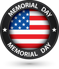 Memorial day black label with USA flag, vector illustration