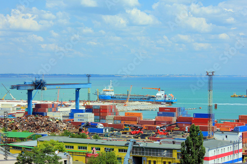 Container terminal in Quarantine harbor of Odessa sea commercial