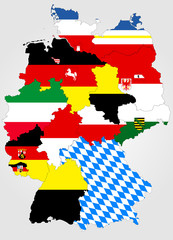 Landkarte von Deutschland mit Bundesländern und Landesfahnen