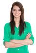 Portrait einer jungen hübschen Frau in grüner Bluse