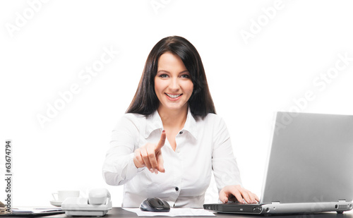 A businesswoman working in office isolated on white