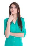 Junge Frau isoliert überlegt sich einen Plan