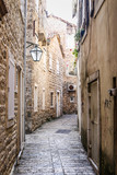 Street in old district of Budva, Montenegro