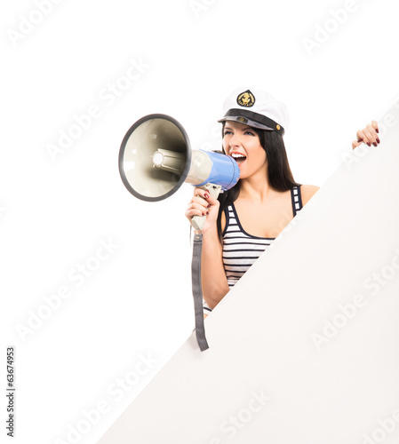 A sexy sailor girl isolated on white background