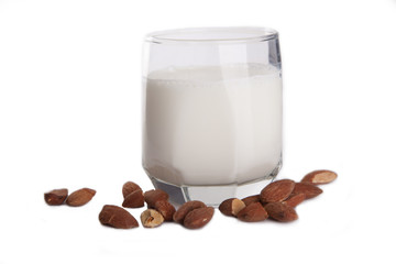a glass of milk with almonds