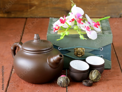set for a traditional tea drinking (kettle, cups and tea)