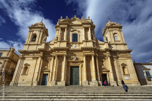 Italy, Sicily, Noto, the S. Nicolò Cathedral baroque facade