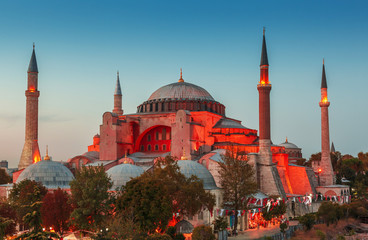 Hagia Sophia with sunset on a background