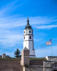 Sahat kula (clock tower) at Kalemegdan fortress, Belgrade flag