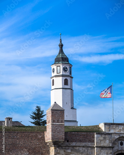 Sahat kula (clock tower) at Kalemegdan fortress, Belgrade flag