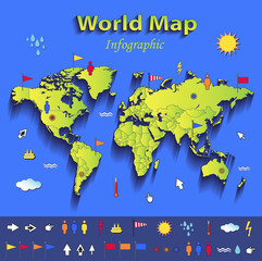 World map infographic political individual states card paper 3D
