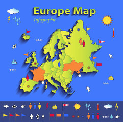 Europe map infographic political individual states card paper 3D