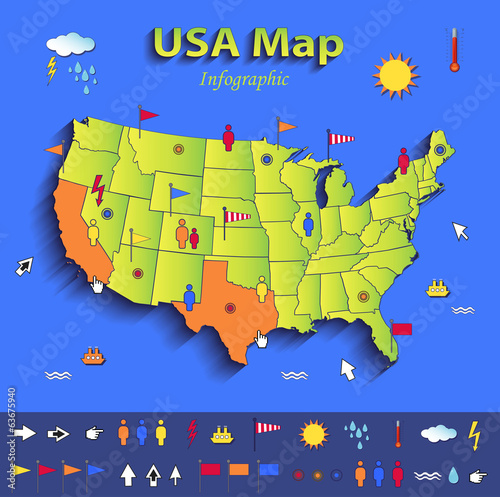 USA map infographic political individual states card paper 3D