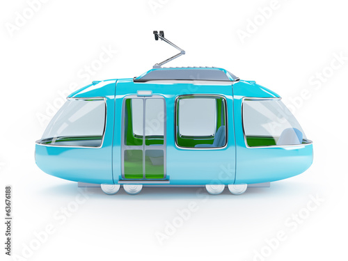 blue cartoon tram one wagon side view