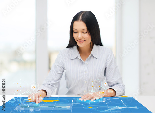 smiling woman pointing to something imaginary