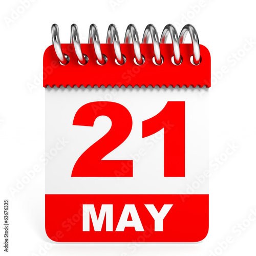 Calendar on white background. 21 May.