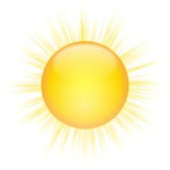 Strahlende, gelb-orange Sonne – Vektor/freigestellt