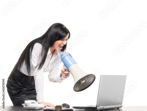 Angry and furious businesswoman screaming isolated on white