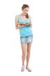 girl wearing jans mini-skirt, blue t-shirt reads a book