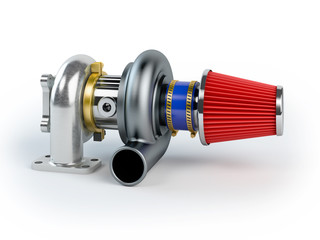Assembled turbocharger sistem with air filter isolated on white